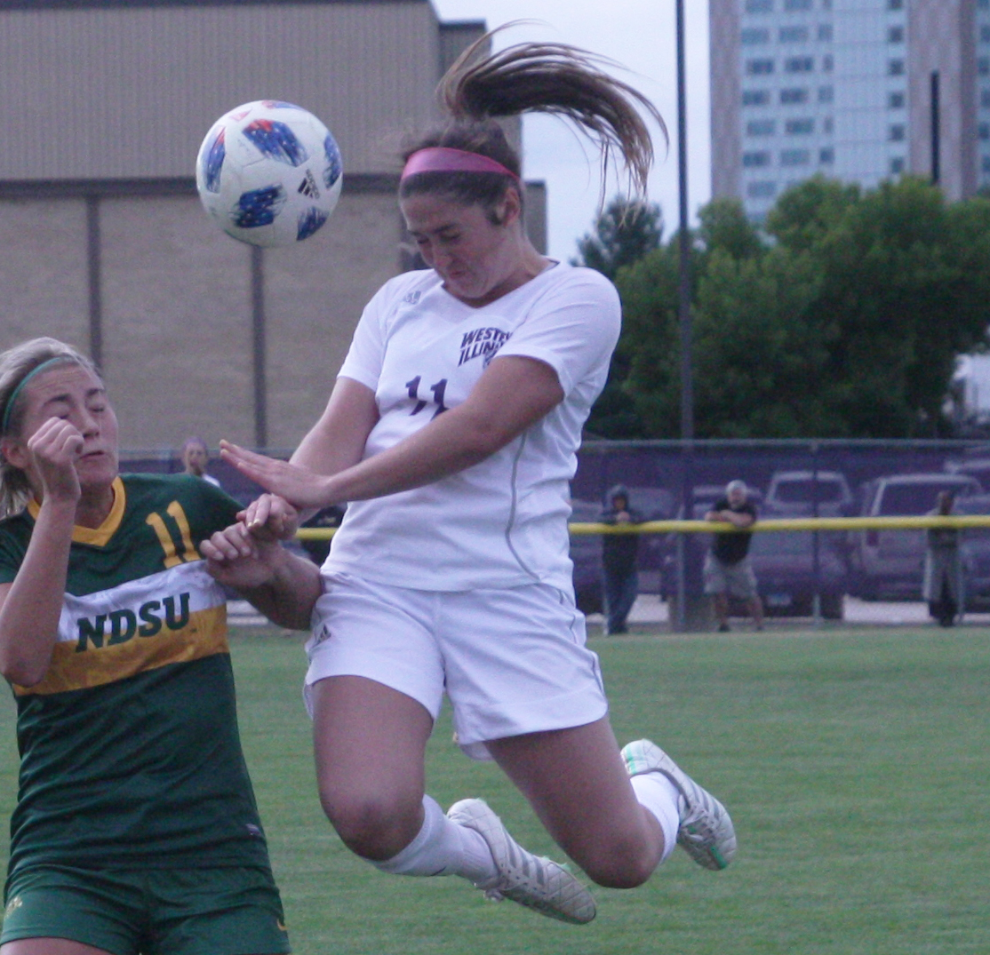 Bridget Schuler goes up for a header.