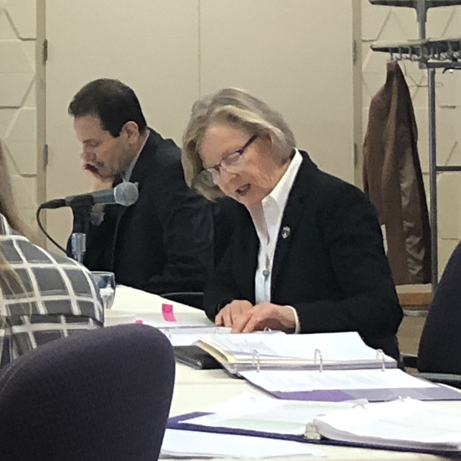 Board of Trustees Chair Polly Raddosh and Interim President approve FY20 budget