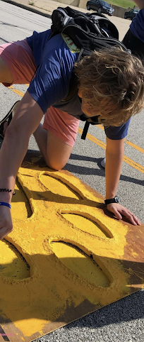 Western Illinois University students paint the paws leading through campus to show alumni who come back to celebrate Homecoming weekend the way back home.