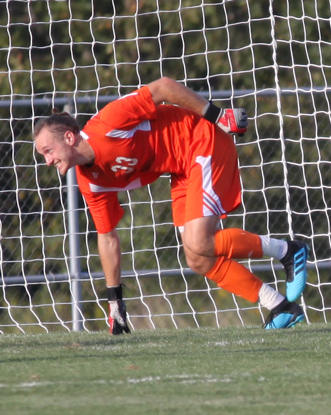 Tim Trilk dives down to make a save.