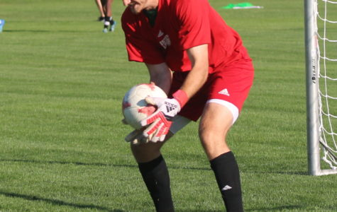 Tim Trilk catches the ball during practice.